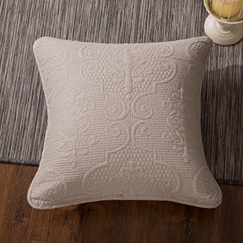 DaDa Bedding Set of Two Sand Dollar Square Pillow Accent Cushion Covers - Elegant Textured Quilted Neutral Tan Beige Floral - 18