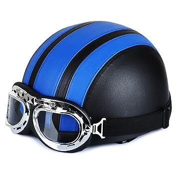 Amazon.es: DGF Casco retro clásico Harley Casco moto Locomotora eléctrica casco Casco medio verano Casco de seguridad con gafas (Color : D)