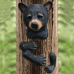 MARYTUMM Tree Decor Outdoor Scuplture Baby Bear Up a Tree Garden Peeker Tree Hugger Outdoor Tree Sculpture - Gifts and Garden Décor Tree Hugger Faces for Trees Bear Cub Resin Sculpture