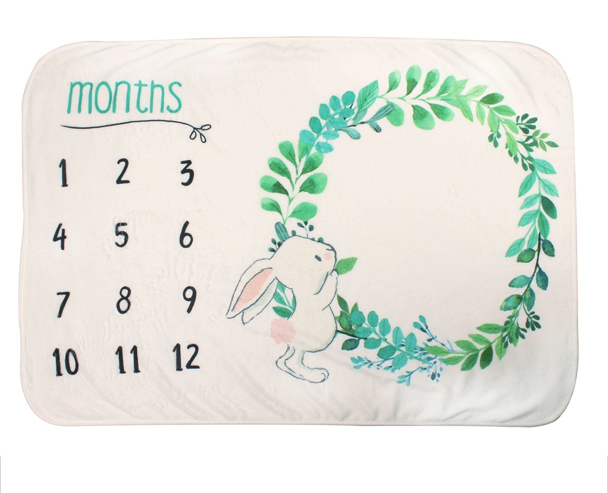 belababy Baby Milestone Blanket -40x30- Boy or Girl Newborn Show Monthly Growth Personalized Photo Rabbit Backdrop Prop