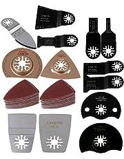 CNBTR Universal Oscillating Multitool Saw Blades Rasp Scraper Sandpaper Sanding Dics Set of 15