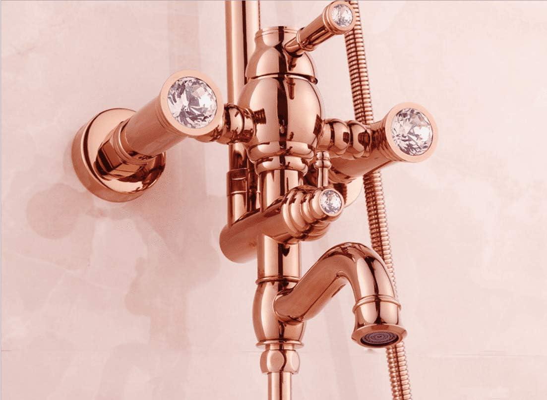 KaO0YaN-Shower Ba/ño Cobre Caliente Fr/ío Europeo Oro Rosa Ducha Juego De Ducha Ascensor Columna Ducha