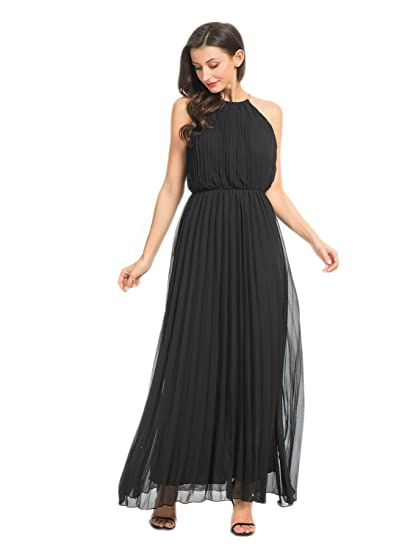 Persun Womens Casual Chiffon Cut Out Shoulder Pleated Party Maxi