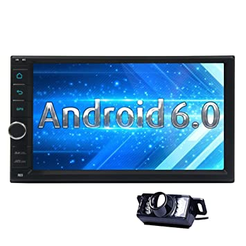 7 inch Android 6.0 Marshmallow Car Stereo 2Din in Dash GPS Navigation Radio Bluetooth Head Unit for Hands Free Calling 64GB USB SD 4G 3G WIFI OBD2 CAM-IN Phone Mirror FM AM RDS Autoradio include Rem
