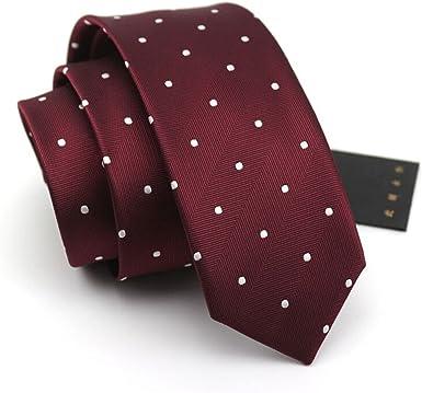 HXCMAN 6cm vino rojo burgundy blanco lunares estrecha corbata ...