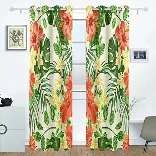 AIDEESS Tropical Hawaiian Plumeria And Hibiscus Flowers Room Darkening Thermal Insulated Grommet Blackout Window Curtains For Living Room Curtain Panels Pair Black 55x84-Inch (Room Living Hawaiian)