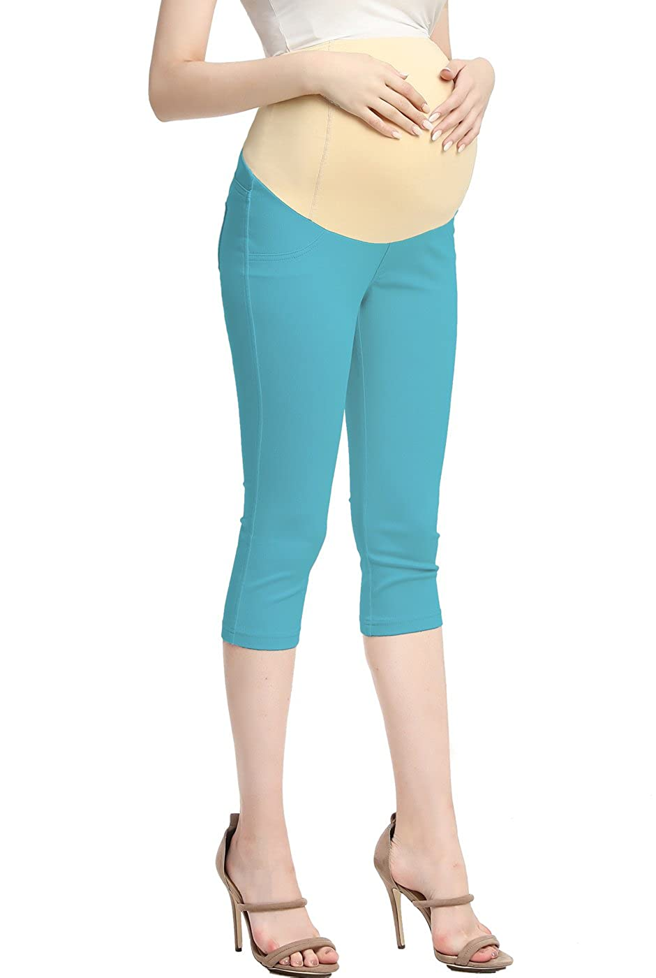 8e3121a0498bc Momo Maternity Women's Stretchy Capri Cropped Ankle Slim Jeggings 18.5