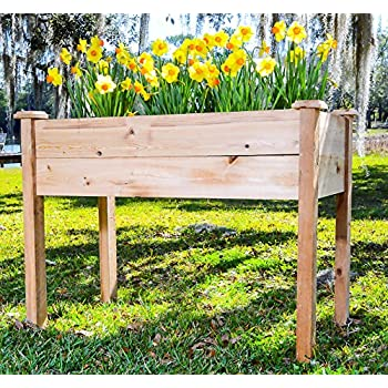 Pure Cypress Raised Garden Bed U2013 Rustic Elevated Vegetable Planter  [Handcrafted In The USA]