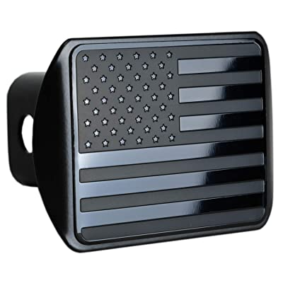"eVerHITCH USA US American Stainless Steel Flag Metal Emblem on Metal Trailer Hitch Cover (Fits 2"" Receivers, Black): Automotive"