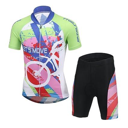 LPATTERN Ropa Conjunta de Ciclismo Bicicleta Maillot de Manga Corta + Pantalones Secado Rápido para Niños Niñas