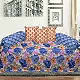 Tanya's Homes Delight Blue and Orange with Textured Floral design Modern 100% Cotton Diwan sets -Pack of 6 PC (1 Single bedsheet , 3 cushion covers , 2 bolster covers )with free tie up threads
