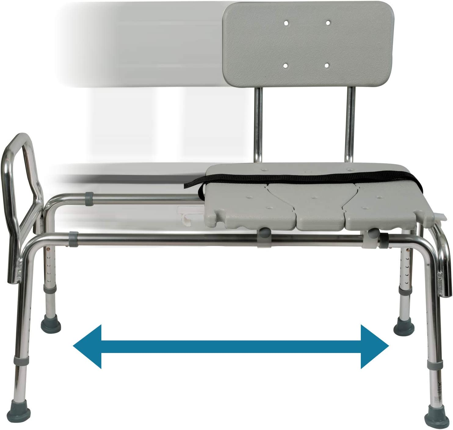 Tub Transfer Bench and Sliding Shower Chair Made of Heavy Duty Non Slip Aluminum Body and Seat with Adjustable Seat Height and Cut Out Access Holding Weight Capacity up to 400 lbs, Gray: Health & Personal Care