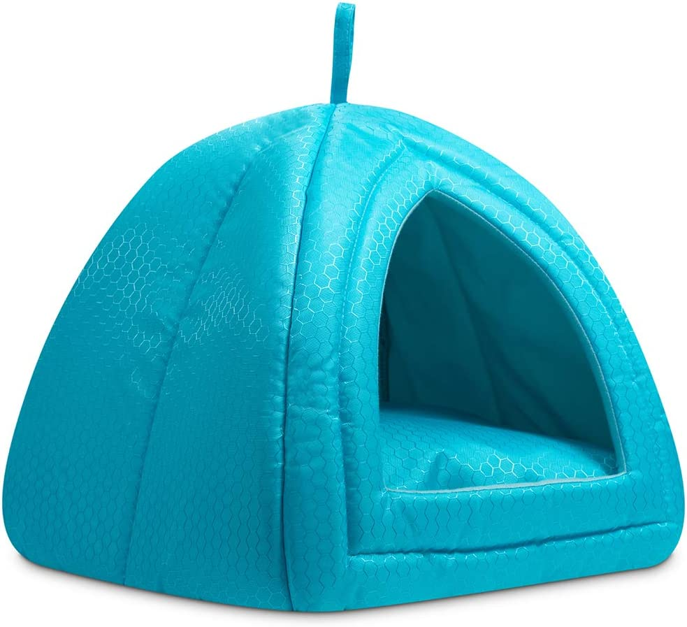 Hollypet Cooling Pet Bed for Cats and Small Dogs 15 x 15 x 15 inches 2 in 1 Foldable Comfortable Triangle Nest Tent House for Summer, Blue