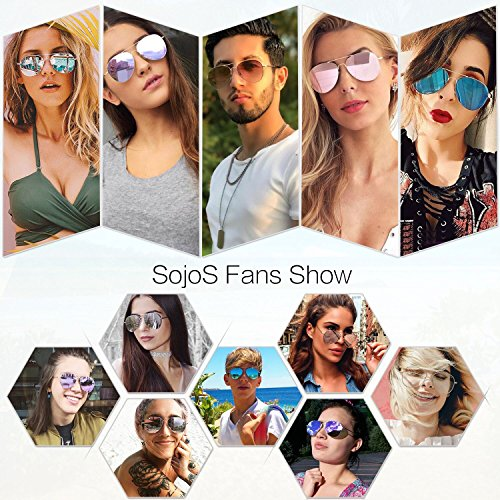 SOJOS Classic Aviator Mirrored Flat Lens Sunglasses Metal Frame with Spring Hinges SJ1030 With Gold Frame/Pink Mirrored Lens by SOJOS (Image #5)