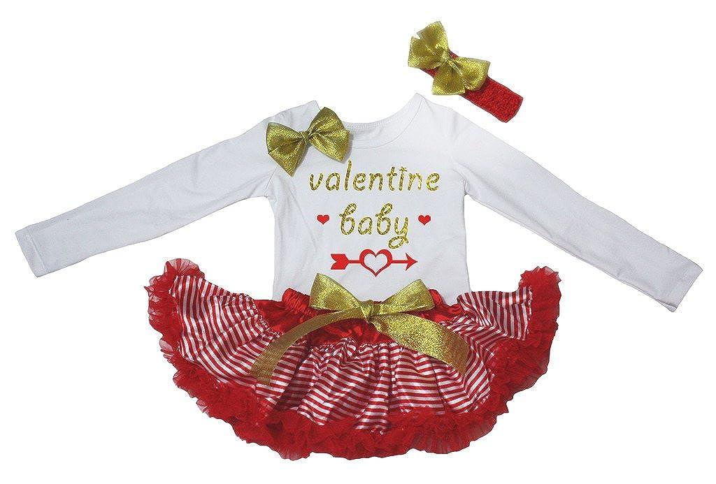 Petitebella Valentine Baby L//s Shirt Red White Stripes Skirt 3-12m