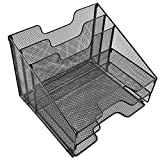 corner kitchen cabinet storage ideas Desk Organizer File Holder All-in-One With Non-Slip Pads by Desk Wiz | Black Metal Mesh Office Desktop File Organizer & Folder Organizer | For Paper, Letters, Mail, Supplies & Desk Accessories