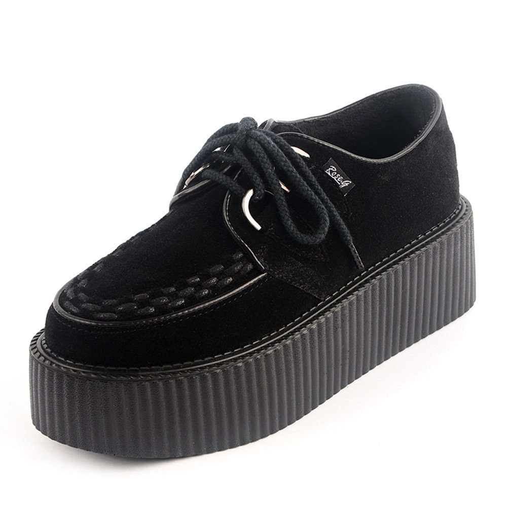 RoseG Creepers Femmes Cuir Cuir Lacets Forme Plate Forme Punk Creepers Noir 07e6566 - automaticcouplings.space