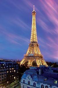 Pyramid America Eiffel Tower at Dusk Paris France Lights Photo Laminated Dry Erase Sign Poster 24x36