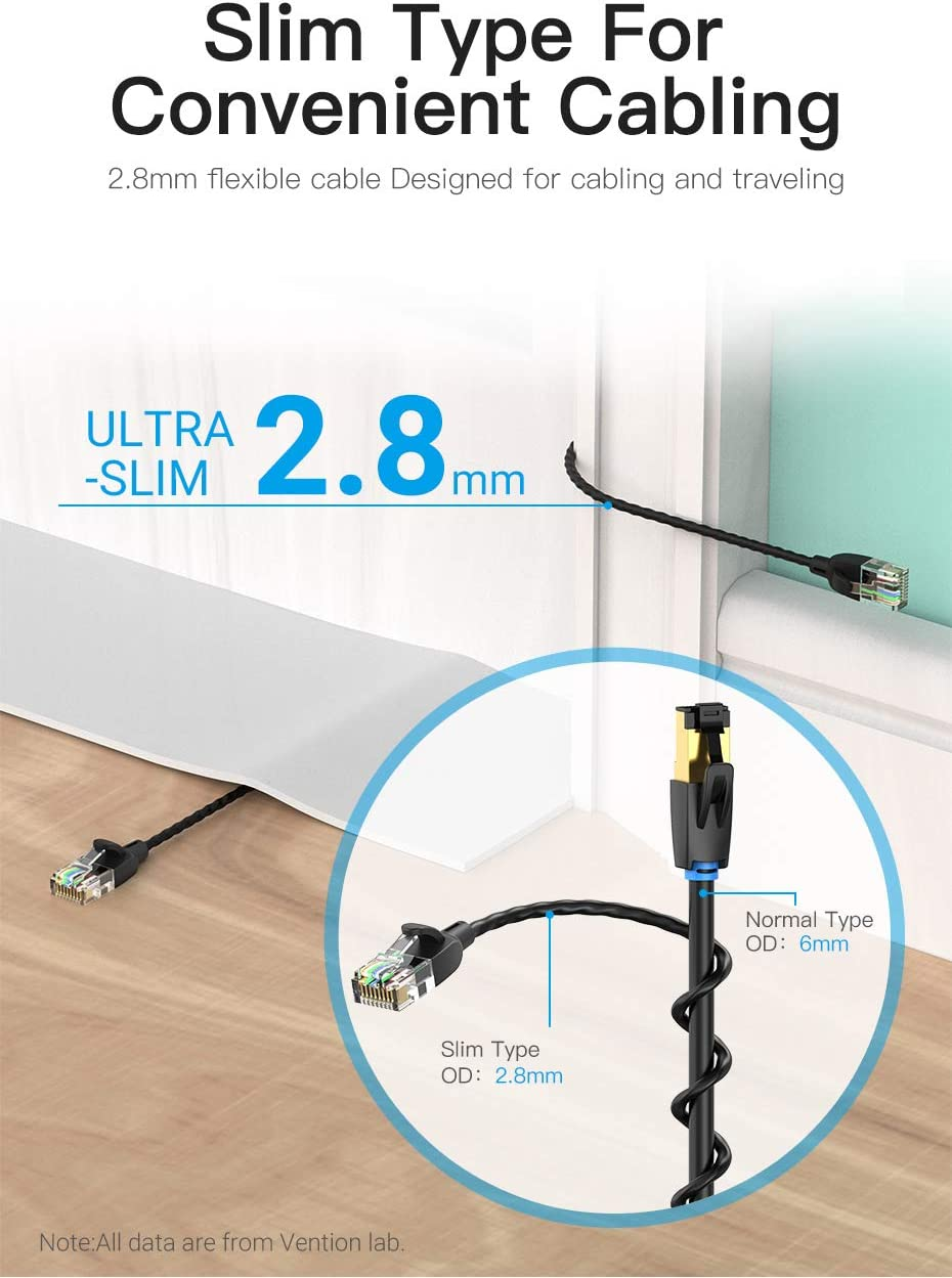 3m//10ft Laptop,HUB,Modem,Set up Box Cat 6A Patch Cable 2.8mm Silm Type,High Speed 32AWG Cat6A LAN Network Cable 10Gbps 500Mhz SFTP Patch Cord with Gold Plated RJ45 Connector in Wall