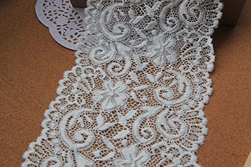 """5-7/8""""(15cm) White Stretch Polyester Elastic Lace Trims DIY Craft Supply by the yard"""