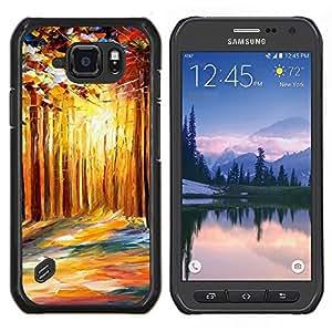 Caucho caso de Shell duro de la cubierta de accesorios de protección BY RAYDREAMMM - Samsung Galaxy S6Active Active G890A - Pintura Abstracta Goldern Bosque