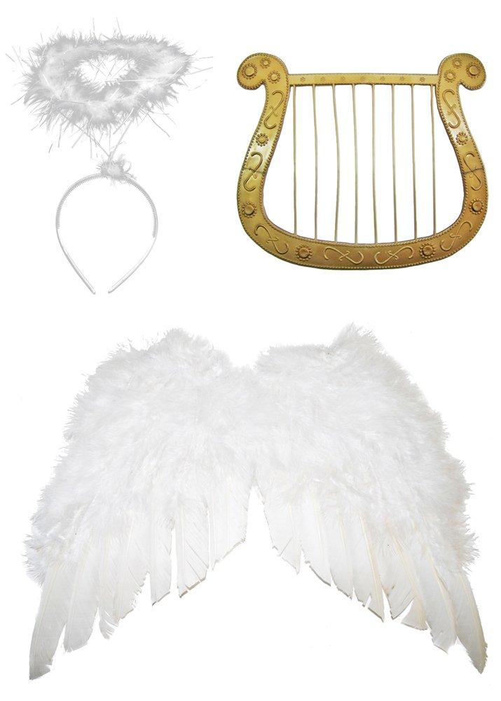 Engel Set 3-tlg. für Weihnachten - Klein Flügelbreite 40 cm - Engelsflügel, Heiligenschein und Harfe Das Kostümland