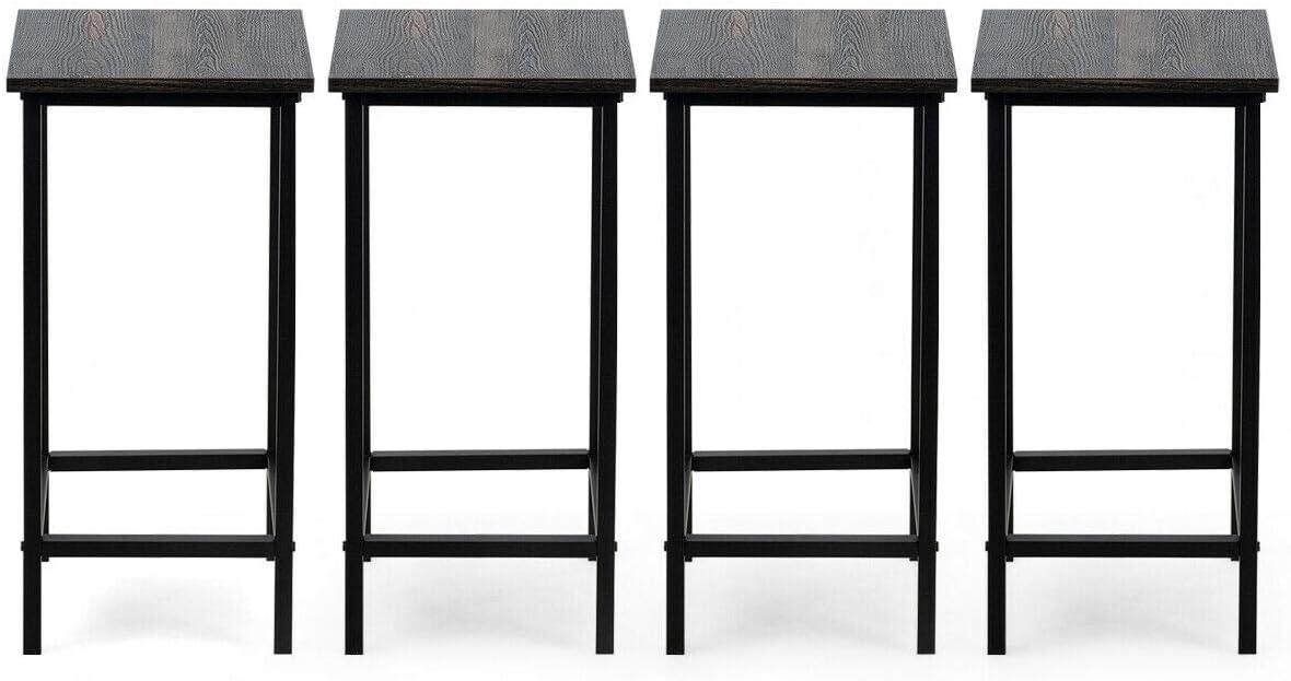"4-Set 24"" Counter Height Bar Stools Premium Metal Frame Backless Dining Stools"