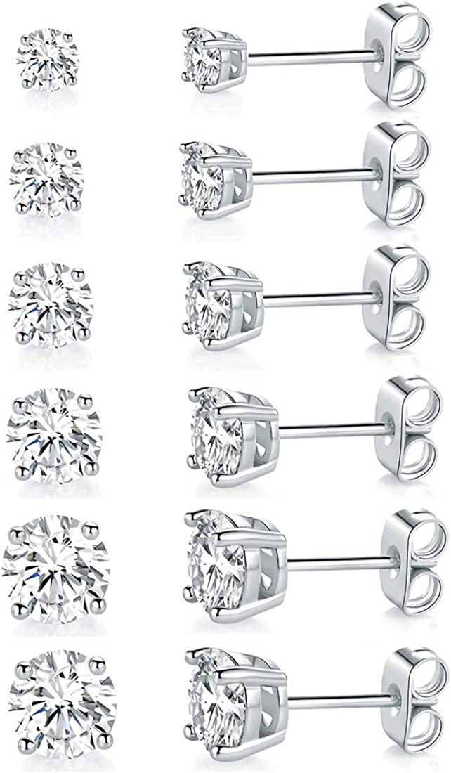 E-128 18K White /& Yellow Gold Filled Clear CZ Earrings