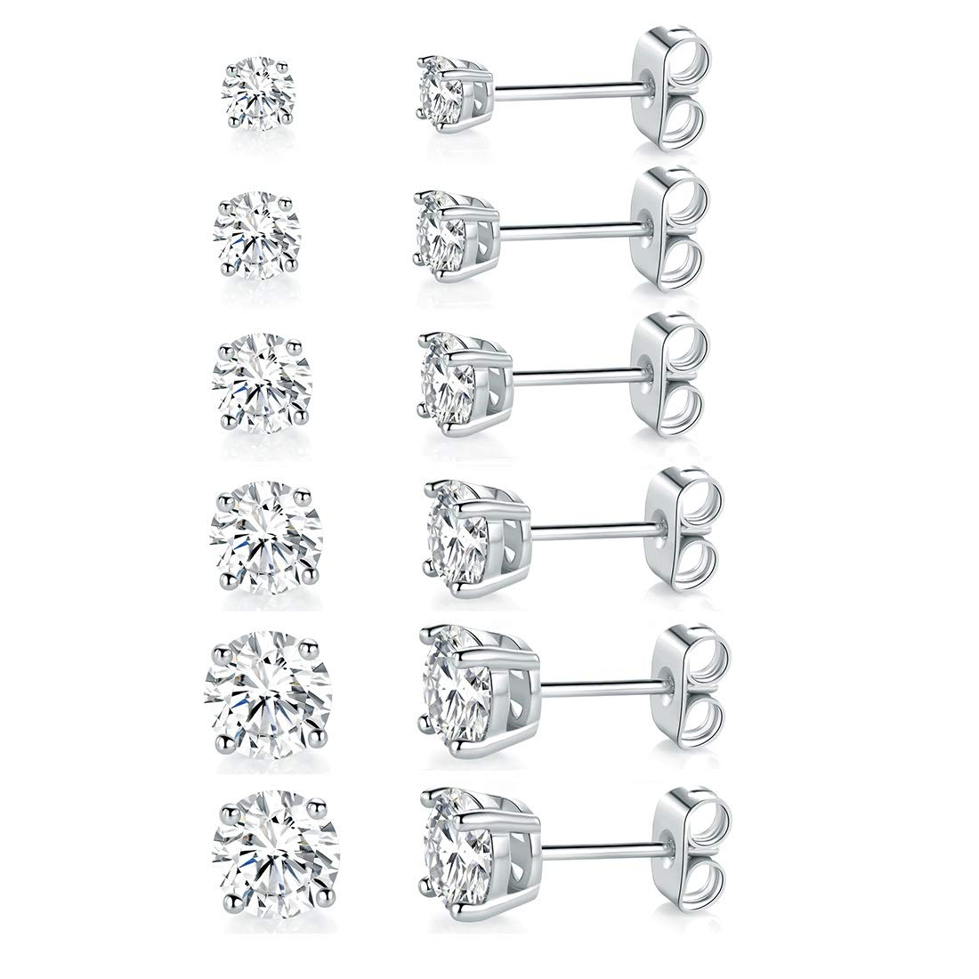 18K White Gold Plated 4 Pong Round Clear Cubic Zirconia Stud Earring Pack of 6 Pairs (6 Pairs) by MDFUN