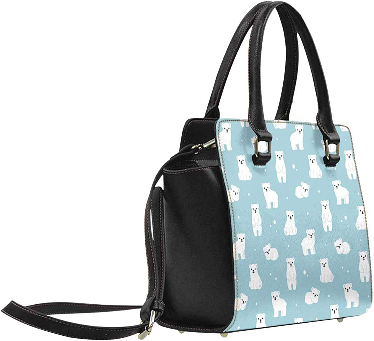INTERESTPRINT Cute Cartoon Polar Bear Cubs Classic Top Handle Shoulder Handbag