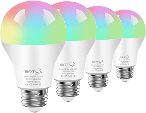 BRTLX Smart Light Bulb, RGB Dimmable Wi-Fi LED Bulb, 9W 800LM,Free APP and Voice Control, Compatible with Amazon Alexa and Google Assistant,No Hub Required,A60 E26 Multicolored Smart Bulbs 4 Pack