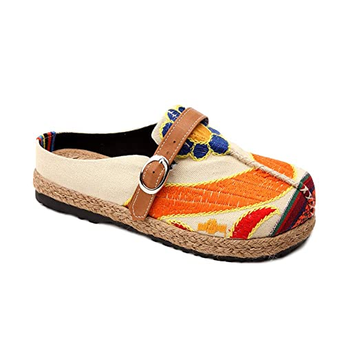 Yiliankeji Zapatillas Zapatos Bordados Mujeres - Damas Chino Estilo Lienzo Mocasines Vintage Alpargatas Aire Libre Casual Caminar Jardín Zuecos Verano: ...
