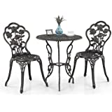 iKayaa 3PCS Patio Bistro Set Iron Aluminum Porch Balcony Garden Table & Chairs Set Furniture Rose Design Antique Copper