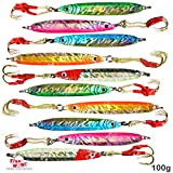 Fish WOW! 10pcs 100g Fishing Metal Vertical Trolling jig 3.5oz Knife Jig with Two Assist Hooks 5 Colors