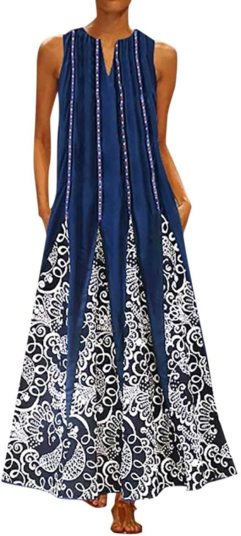Womens Dresses, Gillberry Women\'s Summer Casual Loose Sleeveless Linen Boho  Print Long Dress Plus Size Maxi Dresses
