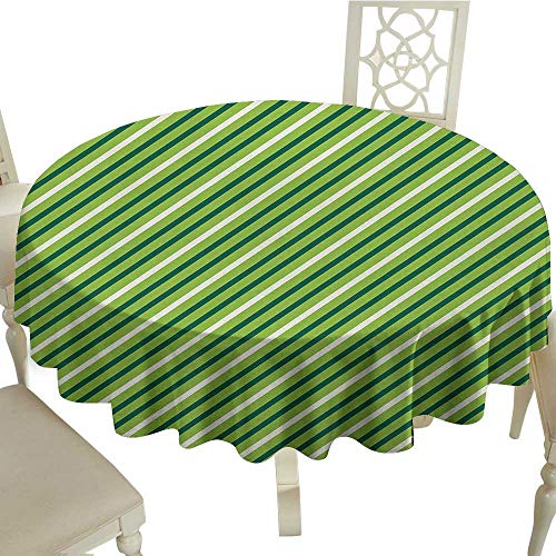 Geometric Easy Care Leakproof and Durable Tablecloth Traditional Irish Striped Pattern Happy St. Patricks Day Theme Outdoor Picnic D51.18 Inch Lime Green Dark Green White