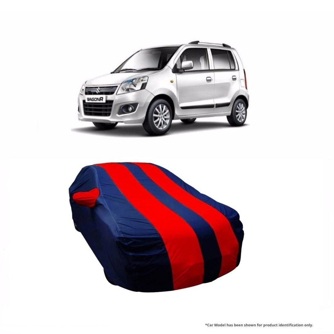 Motrox dual tone stripe car body cover for maruti suzuki wagonr navy blue with red stripe amazon in car motorbike