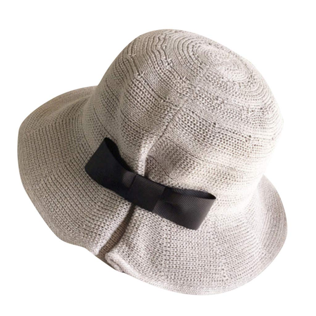 b7b6dfcf Kinglly Ladies Wide Brim Hats Wide Straw Foldable Travel Bow Sun Hat Summer  Beach Caps Beige at Amazon Women's Clothing store: