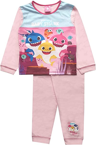 Official Kids Toddler Girls Baby Shark Pyjamas PJs Ages 18 Months to 5 Years Old