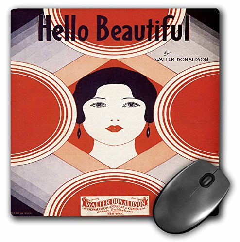 3dRose BLN Vintage Song Sheet Covers Reproductions - Hello Beautiful by Walter Donaldson Colorful Song Sheet Cover - MousePad (mp_169972_1)