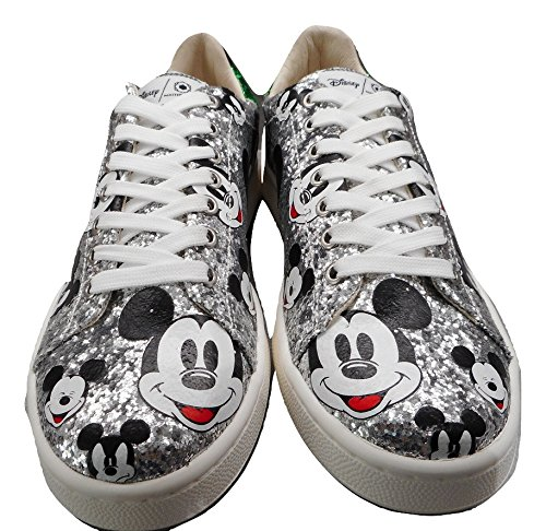 Master of Arts Damen Disney Glitzer Mickey Trainer Silber Silber