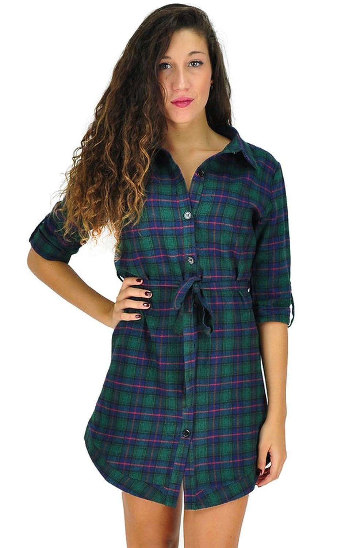 Womens's 3/4 Sleeve Green Tartan Pattern Tunic Winter Dress