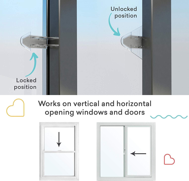 Goleap - Cerradura de puerta corredera adhesiva 3M para patio, armario, ventanas, RV, cerrojo de seguridad para niños a prueba de bebés, paquete de 4: Amazon.es: Hogar