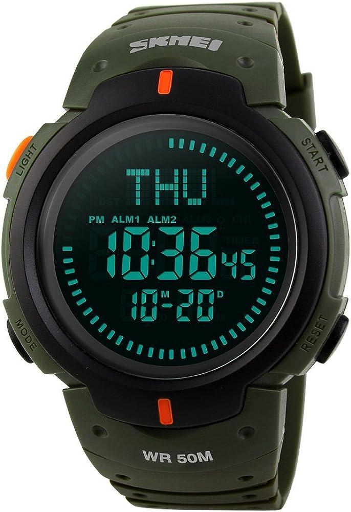 TONSHEN Brújula Relojes de Hombre Deportivos LED Digitales Outdoor 50M Resistente Agua Militares Táctica Plástico Goma Relojes de Pulsera LED Display 12H/24H 3 Alarma para Aventura Viaje