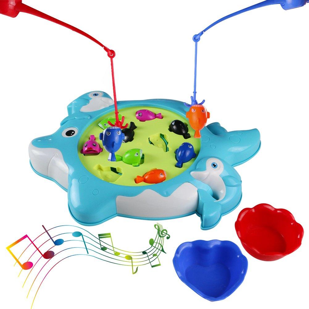 Electric Magnetic Juego de Pesca Mesa de Música de Rotación de Juguete Desarrollo Educativo Temprano para Niños de 3+ Años DA QUN TOYS FACTORY