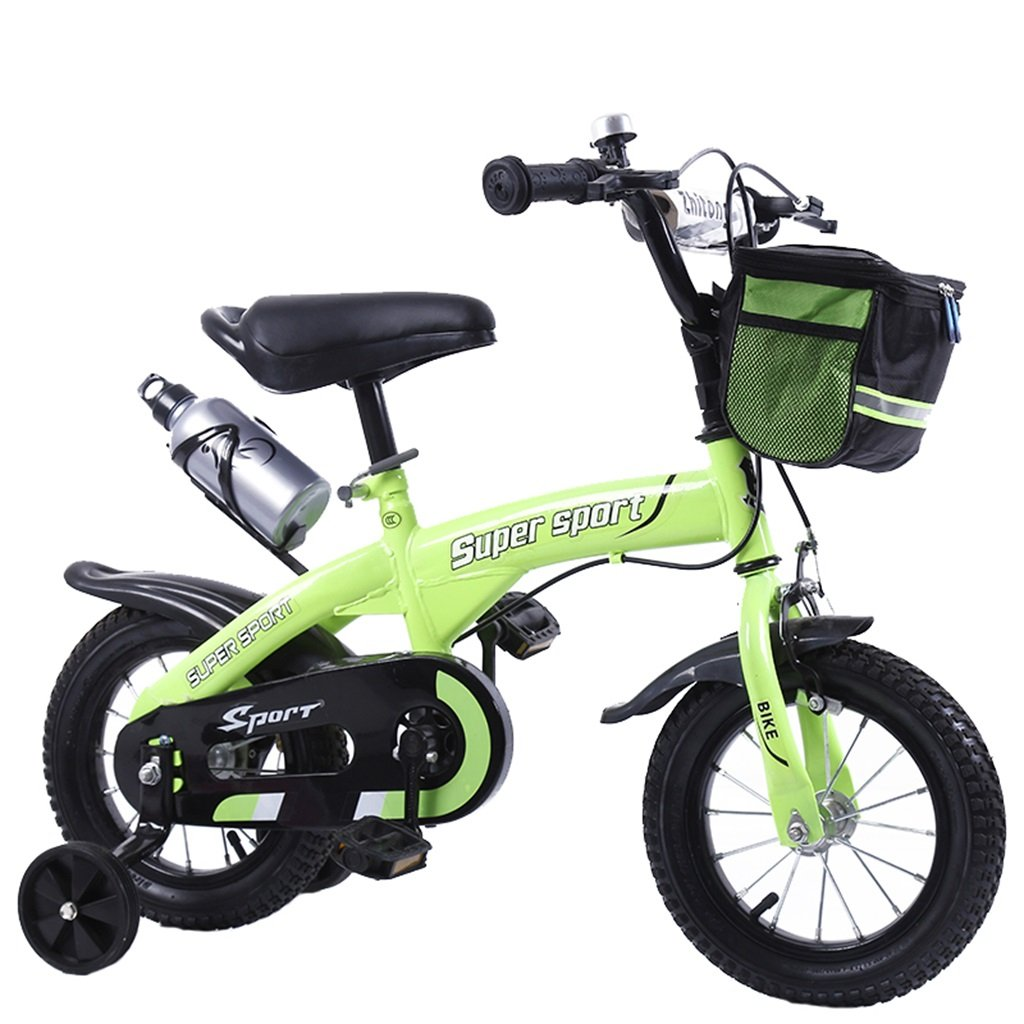 KANGR-子ども用自転車 子供用自転車アウトドアマウンテンバイク2-3-6-8ボーイズとガールズ子供用玩具調節可能ハンドルバー/トレーニングホイール付きサドルウォーターボトルとホルダー-12 / 14/16/18インチ ( 色 : 緑 , サイズ さいず : 18 inch ) B07BTSL6GL 18 inch|緑 緑 18 inch