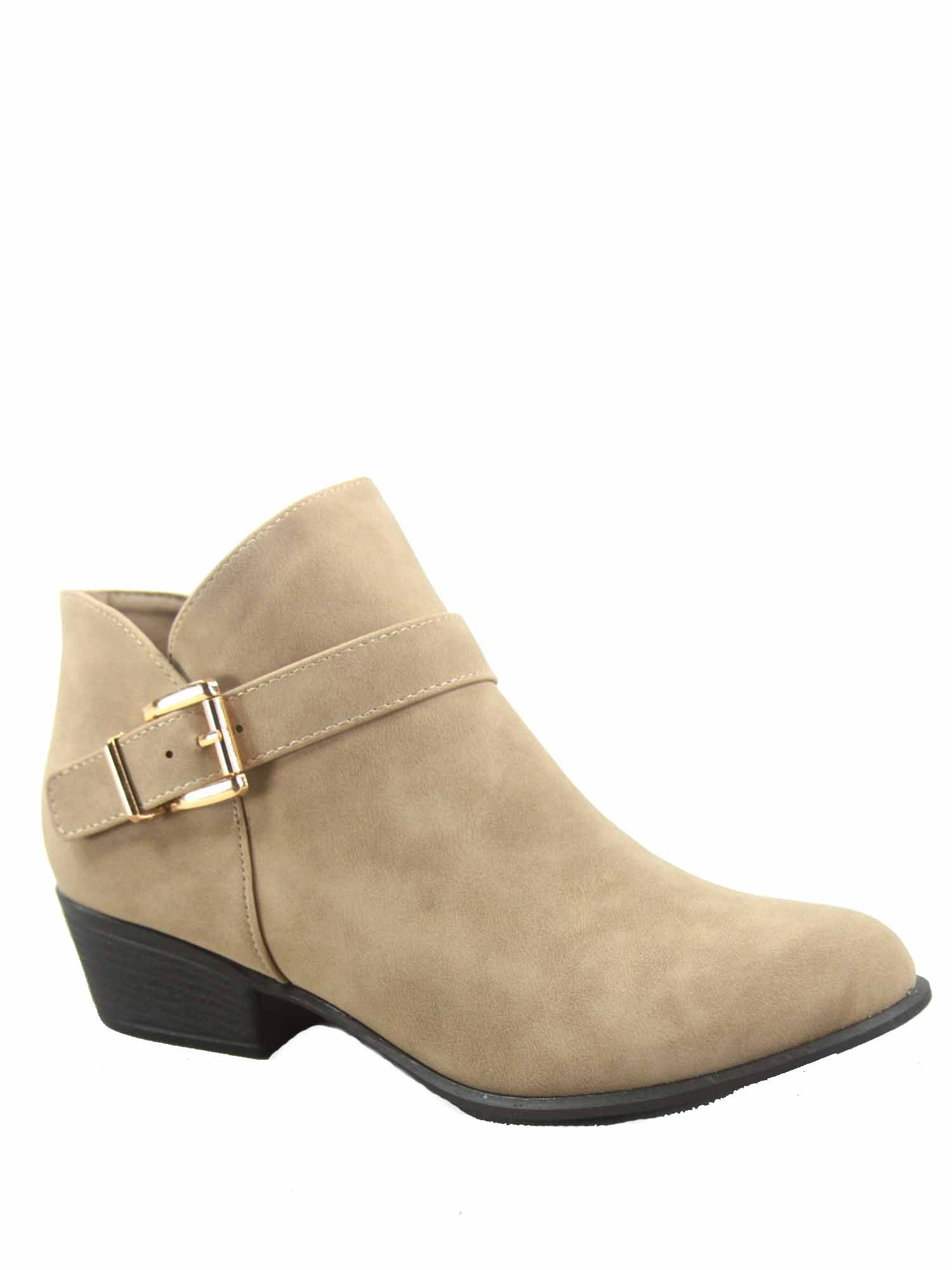 Top Moda Gary-10 Women's Fashion Low Heel Side Zipper Ankle Western Booties Shoes (9 B(M) US, Khaki)