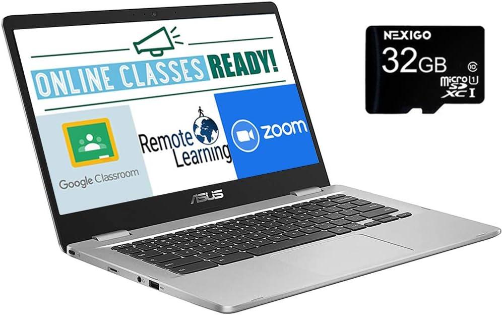 2020 Newest Asus Chromebook 14 Inch Laptop, Intel Celeron N3350 up to 2.4 GHz, 4GB LPDDR4 RAM, 32GB eMMC, Bluetooth, Webcam, Chrome OS, Silver + NexiGo 32GB MicroSD Card Bundle