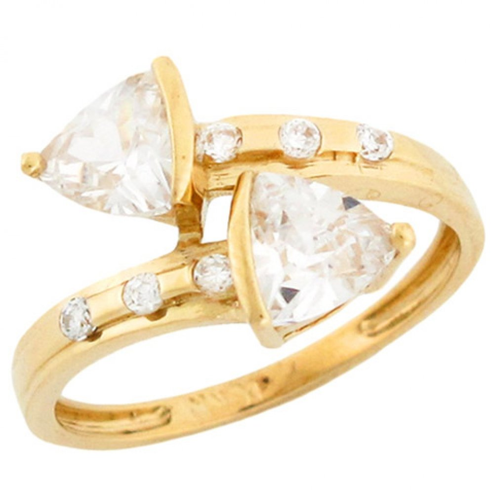 10k Solid Yellow Gold Trillion Cut CZ Arrow Bypass Style Unique Ring by Jewelry Liquidation
