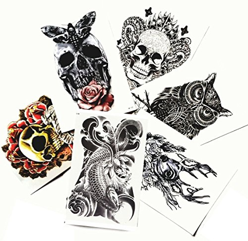 "[Large Non-Toxic Temporary Tattoos | Set of 6 Fake Tattoos (Skull, Koi Fish, Owl, Rose, Butterfly & Deer) | 6"" x 8""  Removable Body Art] (Sugar Skull Makeup Ideas)"